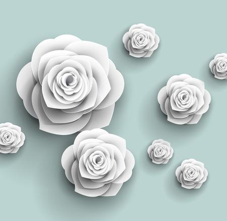 Illustration pour 3d paper rose flowers - vector abstract background - image libre de droit