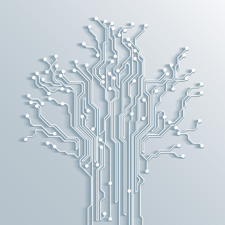 Illustration pour 3d tree circuit board background - vector - image libre de droit