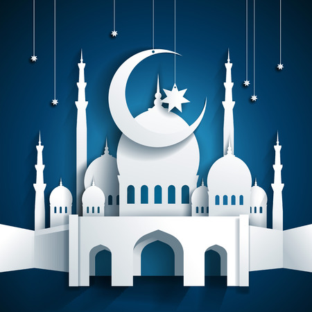 Illustration for 3d mosque and crescent moon with stars - Ramadan Kareem or Ramazan Kareem background - paper craft style - vector - Royalty Free Image
