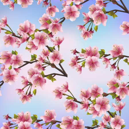 Illustration pour Background seamless pattern with sakura tree  Beautiful Japanese background with pink sakura blossom - Japanese cherry tree Vector illustration - image libre de droit