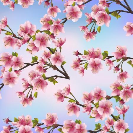 Illustration for Background seamless pattern with sakura tree  Beautiful Japanese background with pink sakura blossom - Japanese cherry tree Vector illustration - Royalty Free Image
