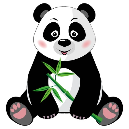 Illustration pour Sitting little cute panda with green bamboo isolated on white background  Vector illustration, no transparency - image libre de droit