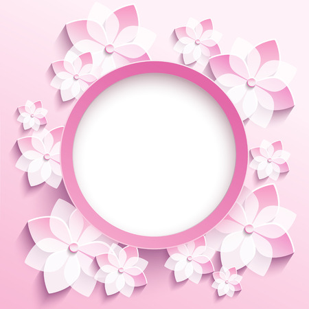 Illustration for Beautiful trendy round frame with 3d white-pink flowers sakura - japanese cherry tree.n - Royalty Free Image