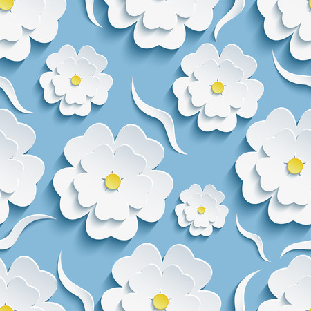 Illustration for Beautiful trendy romantic festive background seamless pattern blue with white blossoming 3d flower sakura - japanese cherry tree and decorative waves. Floral stylish modern wallpaper. Vector illustration - Royalty Free Image