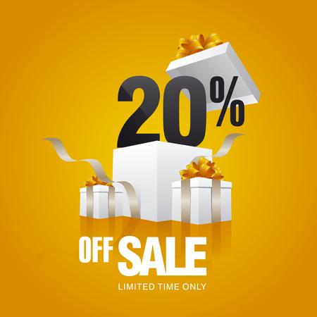 Illustration pour Sale 20 percent off card orange background - image libre de droit