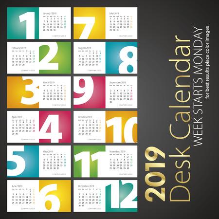Illustration pour 2019 New Desk Calendar monthly numbers landscape background - image libre de droit