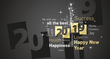 Happy New Year 2019 firework negative space cloud text gold white black