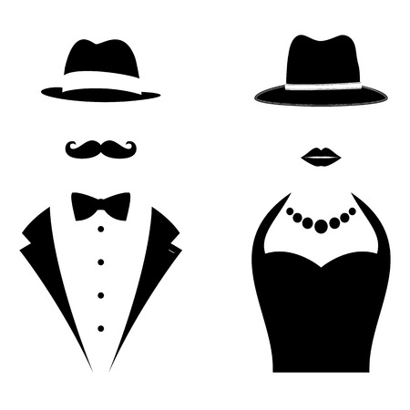Illustration for Gentleman and Lady Symbols. Man and Woman Head Silhouettes - Royalty Free Image