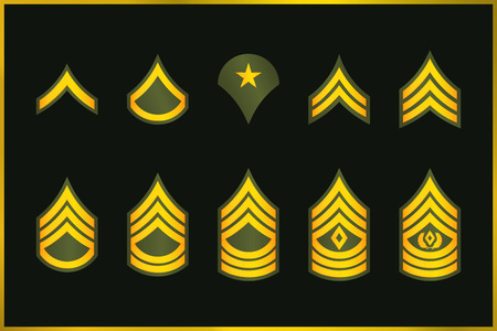 Illustration for Military Ranks Stripes and Chevrons. Vector Set Army Insignia. Sergeant's Staff - Royalty Free Image