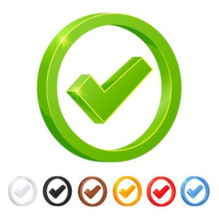 Photo pour Set of 7 Check Mark icons in diferent colors  - image libre de droit