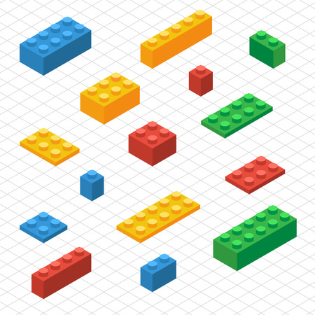 Illustration pour Do your self set of lego blocks in isometric view. DIY vector image. - image libre de droit