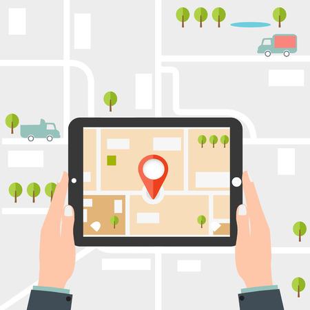 Illustration pour Mobile gps navigation. Man holding a tablet - image libre de droit