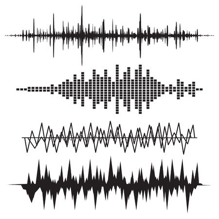 Ilustración de Sound Wave Icon Set. Music soundwave icons set. Equalize audio and stereo sound, wave, melody. Vector illustration. - Imagen libre de derechos