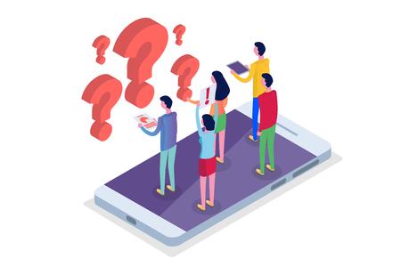 Ilustración de Internet forum, communicating people, society isometric concept. Vector illustration - Imagen libre de derechos