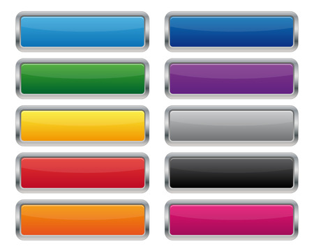 Illustration pour Metallic rectangular buttons - image libre de droit