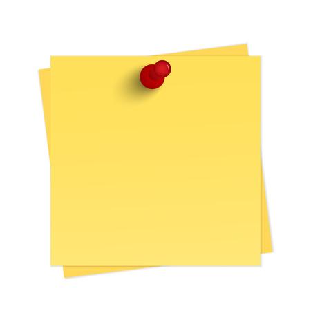 Illustration pour Yellow reminder with pin - image libre de droit