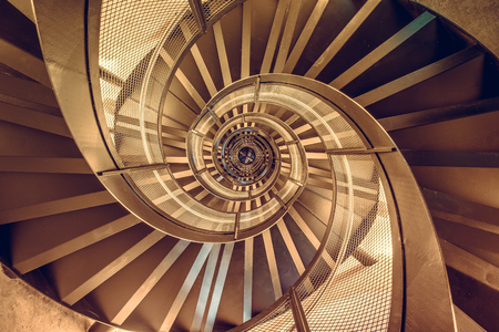 Photo pour Spiral staircase in tower - interior architecture of building - image libre de droit