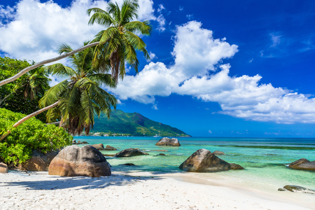 Photo for Baie Beau Vallon - Beach on island Mahe in Seychelles - Royalty Free Image