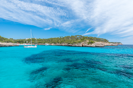 Photo for Sailing boats at Cala Mondrago - beautiful beach and coast of Mallorca - Royalty Free Image