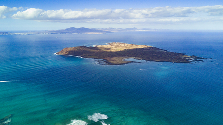 Photo for aerial view of lobos island, fuerteventura, canary islands - Royalty Free Image