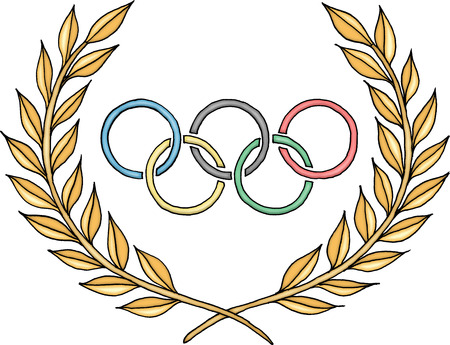 Photo pour Olympic rings logo with laurel - image libre de droit