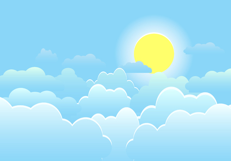 Illustration pour Sky with clouds on a sunny day. Vector illustration - image libre de droit