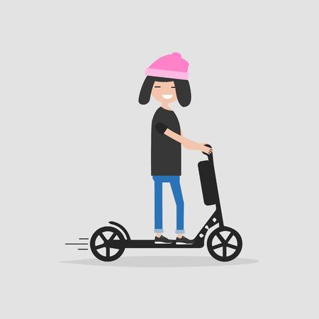 Illustration pour Young female Character rides on electric scooter.flat cartoon design. - image libre de droit