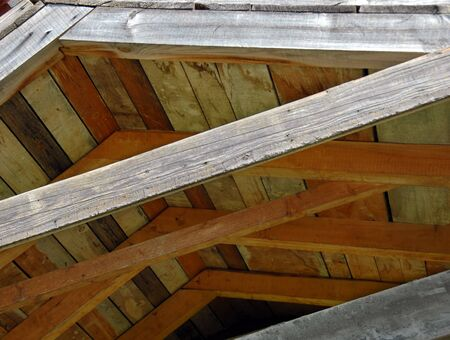 Photo for brown wooden roof structure, building details - Royalty Free Image