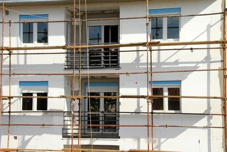 Scaffolding on building facade