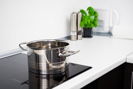Pot in modern kitchen with induction stove