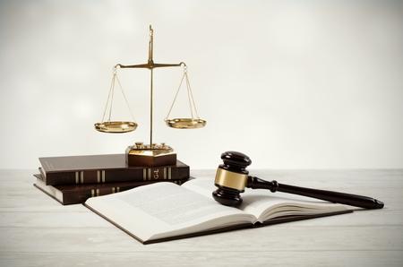 Foto de Justice concept on wooden background. law attorney court lawyer gavel judge legal composition - Imagen libre de derechos