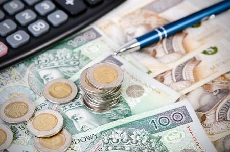 Photo pour Stack of polish money business composition. polish money coins business income stack gambling currency concept - image libre de droit