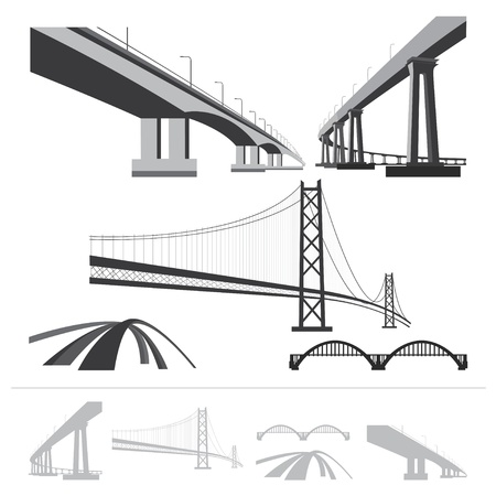 set of bridges, silhouette collection isolated on white background
