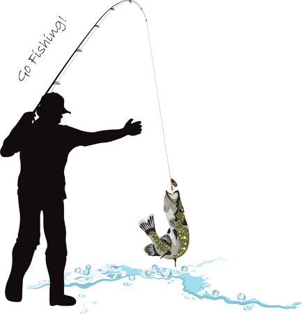 Fishing, fisherman and pike, fisher caught a pike, fishing rod and lure, vector illustration