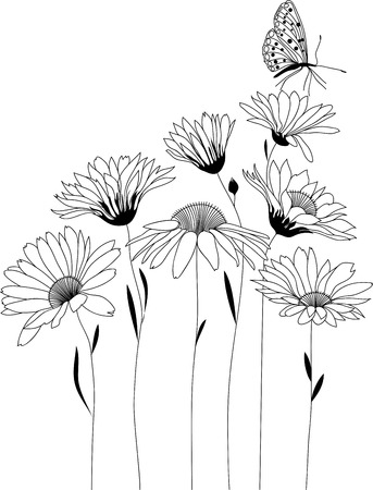 Illustration pour floral design, bouquet of stylized flowers, vector illustration - image libre de droit