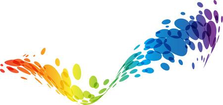 Ilustración de Abstract wave, rainbow colors, tech background - Imagen libre de derechos
