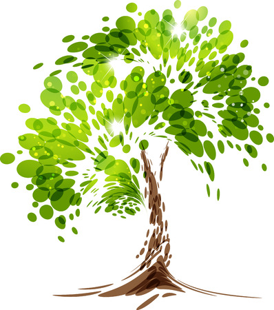 Illustration pour Green stylized vector tree on white background - image libre de droit