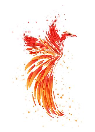 Illustration pour Flaming Phoenix on white background, burning mythical bird - image libre de droit