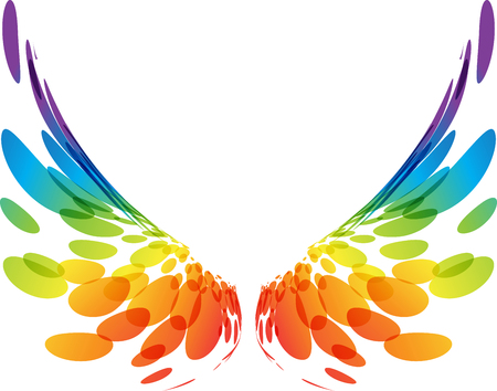Illustration for Multicolored futuristic wings on white background - Royalty Free Image