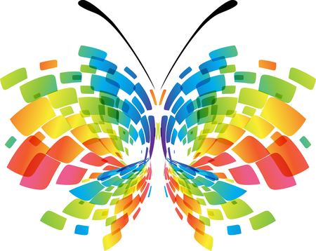 Illustration for Abstract butterfly isolated geometric colorful on white background - Royalty Free Image