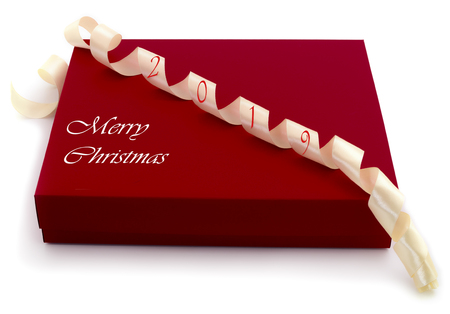 Photo for Red gift box with white ribbon isolated on white color background - Royalty Free Image