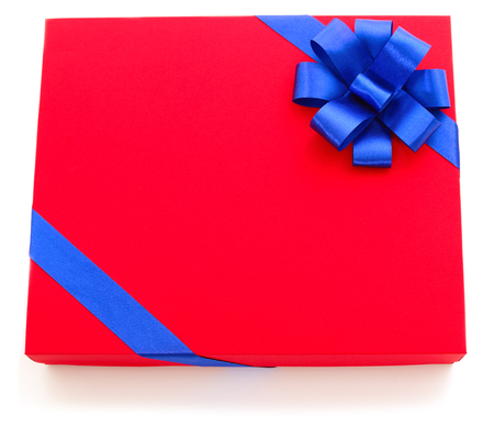 Photo for Red gift box with blue ribbon isolated on white color background - Royalty Free Image