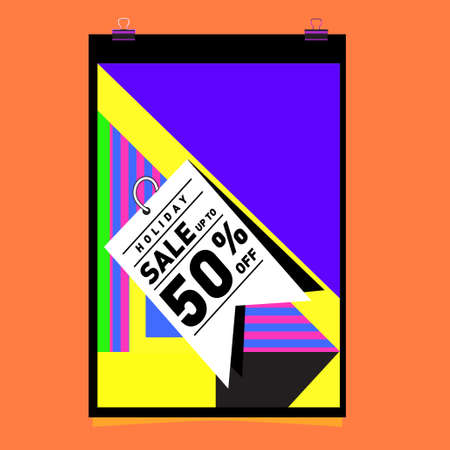Summer holiday sale memphis style web banner design. Fashion and travel discount poster. Vector holiday abstract colorful illustration with special offer and promotion.