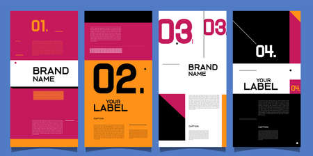 Vector brand label banner and social media post layout design template