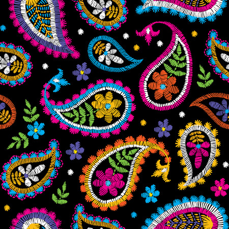 Illustration for Decorative floral embroidery seamless pattern design. - Royalty Free Image