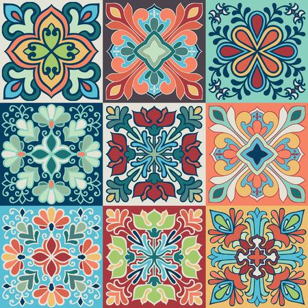 Ilustración de Seamless vector background of colorful tiles with Moroccan, Arabic, Portuguese ornaments. - Imagen libre de derechos