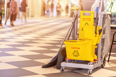 Photo pour set of cleaning equipment in the Terminal 21 Pattaya shopping mall, Thailand - image libre de droit