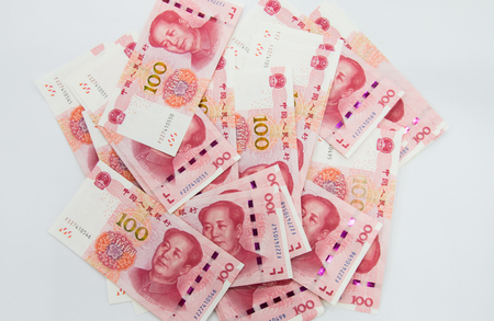 Foto de Background consisting of many Chinese 100 RMB Yuan notes - Imagen libre de derechos