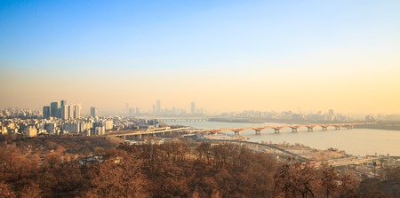 Photo for Landscape of Seoul City seen from Haneul park in the fine dust - Royalty Free Image