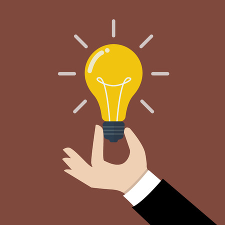 Illustration pour Hand holding light bulb. Business idea concept. - image libre de droit